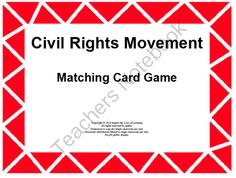 Civil Rights Card Matching Game from Inspire the Love of Learning on TeachersNotebook.com -  (7 pages)  - Use these 24 cards to help students review the Civil Rights Movement.