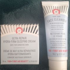 First Aid Beauty night cream and face cleanser A bundle pack of First Aid Beauty skincare. Included is a face cleanser with antioxidant booster. Removes makeup, oils, dirt & grime. Also included is ultra repair hydra firming sleeping cream. All First Aid Beauty products are fragrance free and safe for sensitive skin. First Aid Beauty Makeup