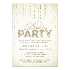 Sparkly Gold Glitter Birthday Party Invitation