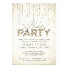 Sparkly Gold Glitter Birthday Party Invitation