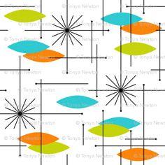Orbs #2 (Orange/Aqua/Lime) spoonflower Com artist gammagammahey
