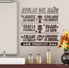 Vinilos Decorativos: Reglas del baño #vinilo #decoración #baño #wc #texto #frase #reglas #TeleAdhesivo