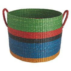 MEGG Set of 2 multi-coloured seagrass storage baskets | Buy now at Habitat UK