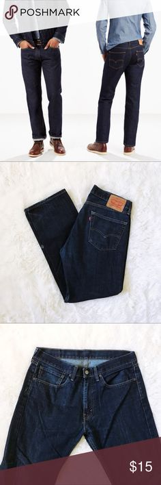 men's Levi 505 dark rinse jeans Levi's 505 regular fit jeans are one of the most popular straight fits. This pair has one small hole on the side (toward front) of one of the legs and a scuff on the seam of another. One leg has a small wear mark at the bottom where a shoe would rub. All damage described is pictured. Made of great quality denim and have a ton of life left. Color is Rinse I believe which is a very dark indigo. 34 waist size : 30 length. Levi's Jeans Straight