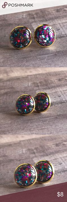 """🆕Listing! Rainbow Glitter Bomb Drop Earrings! New, Earrings Handmade by Me! Approx 1/2"""" Diameter, 12mm; Glitter Bomb Drops! These are Made with Pink, Blue, Purple & Silver Glitter Flecks; A Rainbow of Colors! Set in a Gold Post Back for Pierced Ears! 🍭Can Make with Many Different Backs, please ask! 📸These are My pic's of Actual item!  ▶️Part of 3 for $15 Deal! Bundle & Save! • Glitter Bombs Stud Earrings for pierced ears • Nickel, Lead & Cadmium Free  *NO TRADES *Price is FIRM as Listed…"""