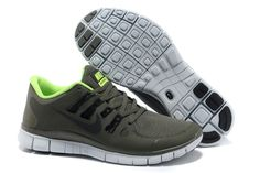 Nike Free 5.0 Grey Green Lime Mens Running Shoes