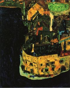 Egon Schiele, City on the Blue River, 1911.Oil and gouache on wood, 37.1 x 29.9 cmPrivate Collection