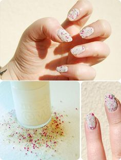 White, Pink and Green Caviar Manicure
