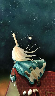 . Illustration catching a star