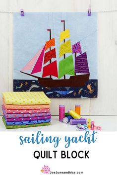Sail away with me to another world! This Sailing Yacht Quilt Block is very easy to follow and make. Start your own quilt project now! #joejuneandmae #quiltingproject #quilt #quilttips Beginner Quilt Patterns, Modern Quilt Patterns, Paper Piecing Patterns, Quilt Block Patterns, Quilting Tutorials, Quilting Projects, Quilting Designs, Sewing Patterns, Beach Themed Quilts