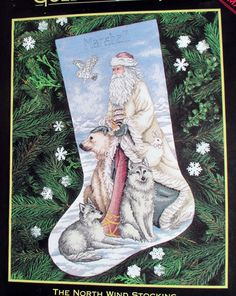Dimensions Gold Collection Cross Stitch Kit Christmas Stocking North Wind NOS #DimensionsGoldCollection #ChristmasStocking