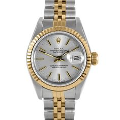 @Overstock - This stylish women's pre-owned Rolex Datejust watch features a stainless steel case with a matching two-tone steel and 18-karat gold jubilee bracelet. The silver dial sets the stage for stick markers and a date window at 3 o'clock.http://www.overstock.com/Jewelry-Watches/Pre-owned-Rolex-Womens-Two-tone-Datejust-Watch/7485217/product.html?CID=214117 $2,919.99