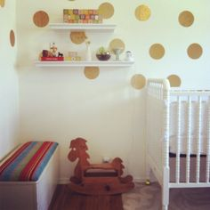 Sterling's nursery. Gold dots & color.