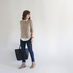 Cashmere sweater over white shirt with skinnies and low booties. Style Bee - September Vibes