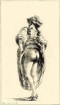 Neapolitan woman, standing, seen from behind, and lifting her skirt to reveal her nudity.  1787  Etching