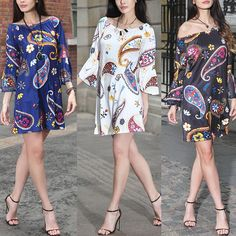 Vintage Women Low Cut Print Casual Dress