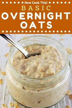 These Basic Overnight Oats are the ultimate easy, make-ahead, healthy, delicious breakfast - and there's no cooking required! Basic Overnight Oats Recipe, Overnight Oats With Yogurt, Overnite Oatmeal, Low Calorie Overnight Oats, Make Ahead Oatmeal, Oats Recipes, Cooking Recipes, Flour Recipes, Snacks Recipes