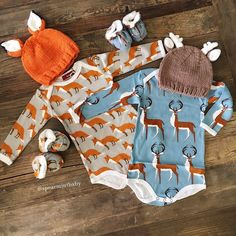 Baby boy onsies with matching hats. Fox and Deer