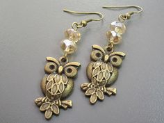 Owl Earrings - Antique Gold and Amber