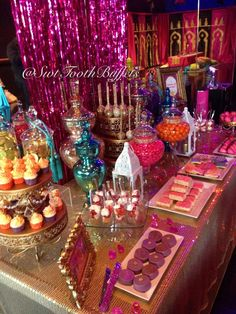 Arabian Nights Birthday Party Candy Buffet by Sweet Tooth Candy Buffets Moroccan Theme Party, Moroccan Wedding, Indian Party, Arabian Party, Arabian Nights Party, Jasmin Party, Decoration Evenementielle, Decorations, Aladdin Party