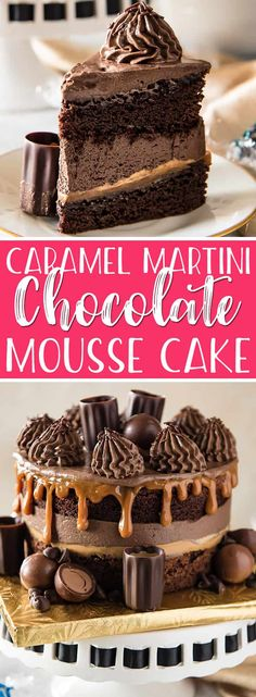 This Caramel Martini Chocolate Mousse Cake is a chocolate lover's dream come true! Two supremely rich layers of dense cake are filled with fluffy chocolate mousse and a layer of thick caramel. More chocolate and caramel adorn the top of this showstopper, along with caramel martini-filled edible shot glasses - perfect for a sweet toast. #sponsored #worldmarkettribe #discoverworldmarket #chocolate #mousse #cake #caramel #martini #dessert #recipe