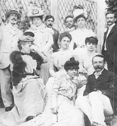 Marcel Proust, shown here on a picture taken at Amphion in1899 (Proust is in the center back, Noailles on the far right, her sister Hélène in front).