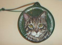 Tabby Cat Custom Hand Painted Christmas by daniellesoriginals, $19.95