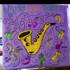 Bulletin board, mardi gras, Rachel's door