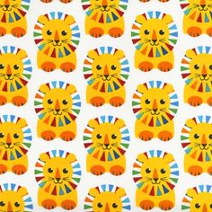 Cute lion print fabrc APP-13009-204 by Print & Pattern from The Circus: Robert Kaufman Fabric Company