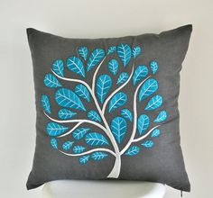 Turquoise Peacock Pillow Cover, Dark Gray Linen Turquoise Tree Embroidery, Modern Home Decor, Floral Pillow Shams, Turquoise Cushion