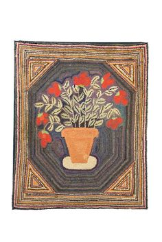 "American, late 19th century, wool on burlap. Large red flowers with abundant foliage issueing from flower pot on a dark striated background. Hexagon border in multicolored stripes. Minor imperfections. Mounted.45""h. 36""w"