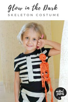 Instructions for making a super easy DIY glow in the dark skeleton costume. This is an awesome DIY Halloween costume that anyone can make. Even kids!