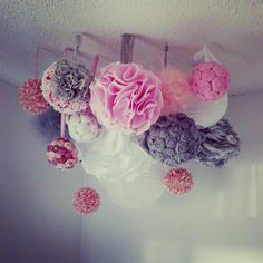 Pink and Grey Shabby Chic Mobile (DIY Multipurpose POM POM Mobile/Chandelier)  Tutorial for this fun multipurpose pink and grey DIY chandelier/mobile! Perfect for a baby's room, bridal shower, baby shower or wedding!    Check out my DIY Wedding Page for more of my wedding projects!            Click here to see the tutorial for the mobile below! This  is one I made for our Audrey Hepburn Tiffany's Inspired Guest Bedroom!        These are all of the final projects!    Below you will see…