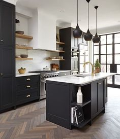 Black and White Kitchen Ideas Unique 67 Stunning Black White Wood Kitchen Decor Ideas White Wood Kitchens, White Kitchen Decor, New Kitchen, Kitchen Wood, Kitchen Ideas, Kitchen Floors, Distressed Kitchen, Kitchen Rules, Stylish Kitchen