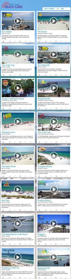 Gulf Coast Beach Cams - Now up to SIXTEEN LIVE, controllable, HD, webcams for you to view. Take a look at the beach conditions of your favorite vacation destinations. YOU control the camera, scout out that perfect spot before you even make your condo reservations. Check each cameras advertisers for direct links to the best deals in town. Looking for things to do, a place to stay or eat near Shaggys Biloxi? Just click on the camera and check out the ads. All conveniently located in one spot.