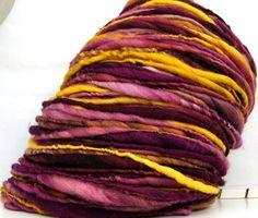 HandSpun Merino Wool Yarn thicknthin Burgundy Sun by Kitty Grrlz Hand Spun Yarns