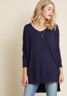 #ModCloth - #T1938 Dressed in this navy top, you and yours meet up with your fave couple for lunch at the park. Arepas and sweet plantains are made even more enjoyable by the drop sleeves and central seam of this V-neck sweater, which provides the laughter, smiles, and conv - AdoreWe.com