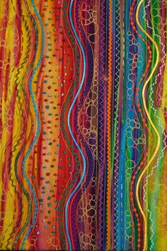 Design to Quilt: Elements of Design-The Magic of Triad Colors (Week Stupendous Stitching by Carol Ann Waugh Textiles, Machine Quilting, Machine Embroidery, Embroidery Ideas, Embroidery Stitches, Quilt Modernen, Textile Fiber Art, Fiber Art Quilts, Thread Painting