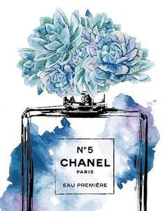 Chanel No5 print A4 blue with Succulent watercolor by hellomrmoon