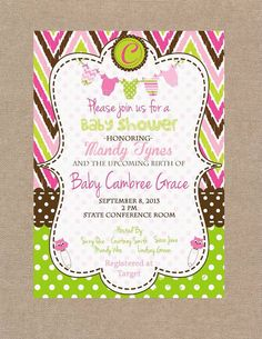 Girl Baby Shower Invitation Pink Green and Brown Baby Shower Invitation on Etsy, $12.00