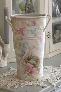 Shabby Antique Bluebird and Roses Bucket - Debi Coules Romantic Art