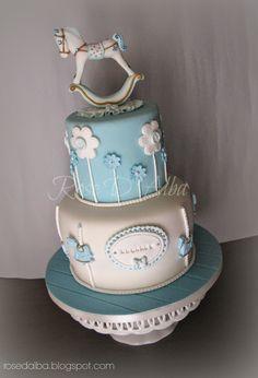 ROSE D' ALBA cake designer: Il battesimo di Edoardo: cake rocking horse