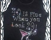 Rhinestone 40th Birthday Tank Top Pink Martini birthday shirt girls night out birthday weekend girls trip