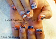 Denver Broncos nails Denver Broncos Nails, Go Broncos, Broncos Fans, Bronco Football, Football Stuff, Football Nail Art, Nail Spa, Toe Nails, Hair And Nails