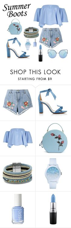 """""""Summer blue"""" by stylewithyourheart ❤ liked on Polyvore featuring House of Holland, Alexandre Birman, Design Lab, Lacoste, Essie, MAC Cosmetics and Matthew Williamson"""