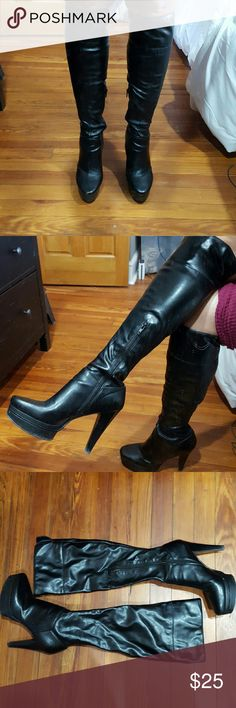 """Knee Boots Tall, knee boots that can be flipped down to come just below knee. Manmade materials Half inside zippers 4.75"""" heel, 1"""" platform  Loved and worn Steve Madden Shoes Heeled Boots"""