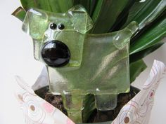 Gift Idea for Dog Lover Plant Stake Handcrafted of Fused