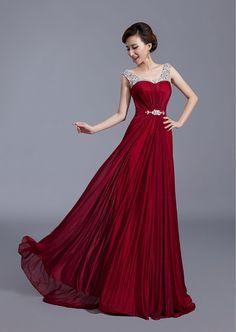 Fashion Women Scoop Neck Sweep Train Beaded Chiffon Dress