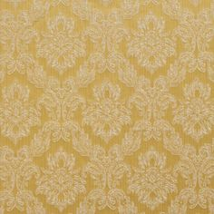Canary Gold and White Floral Brocade Upholstery Fabric