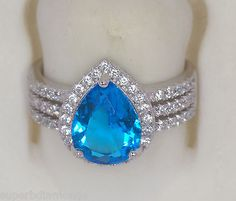 925 STERLING SILVER RING SIZE 8 WITH BLUE GEMSTONE SIMULANT CZ STONE FOR WOMEN